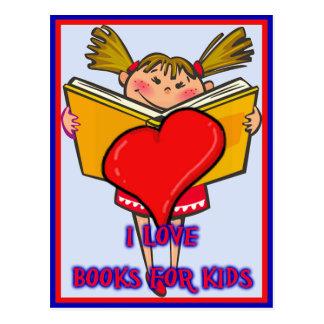 Amo los libros para los niños postales