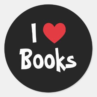 Amo los libros etiqueta redonda
