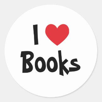 Amo los libros pegatina redonda