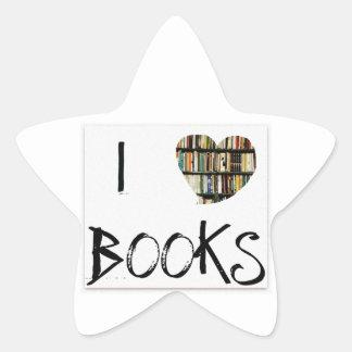 Amo los libros pegatina en forma de estrella