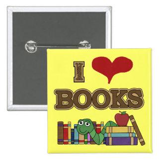 Amo los libros pin cuadrada 5 cm