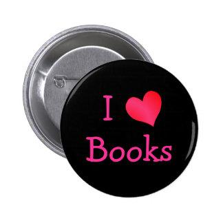 Amo los libros pin redondo de 2 pulgadas
