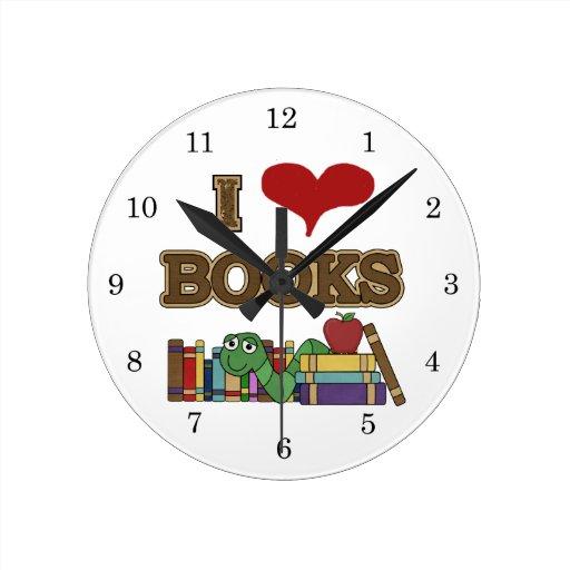 Amo los libros reloj redondo mediano