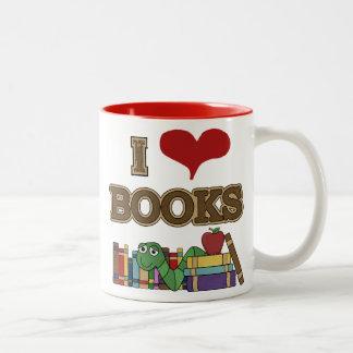 Amo los libros taza de café de dos colores