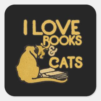 Amo los libros y los gatos pegatina cuadrada