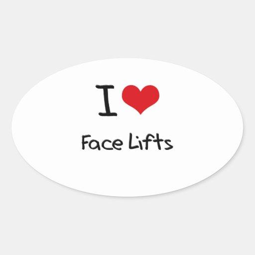 Amo los liftinges faciales calcomanía de óval