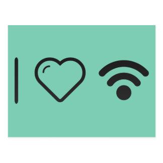 Amo los logotipos de Wifi Tarjeta Postal