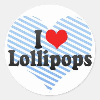 Amo los Lollipops Pegatina Redonda