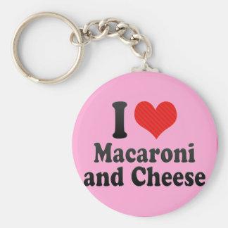 Amo los macarrones+y queso llavero redondo tipo pin