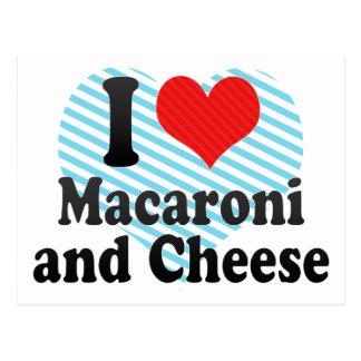 Amo los macarrones+y queso tarjetas postales