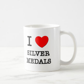 Amo los medallistas de plata tazas de café
