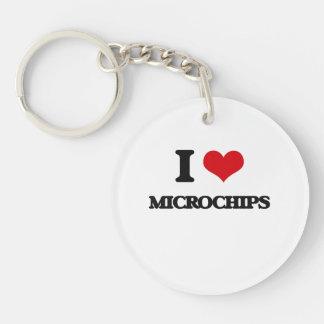 Amo los microchipes llavero redondo acrílico a una cara