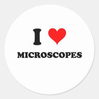 Amo los microscopios pegatinas redondas
