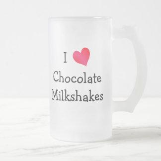 Amo los Milkshakes del chocolate Taza Cristal Mate
