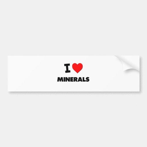 Amo los minerales etiqueta de parachoque