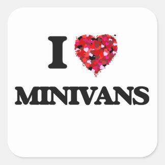 Amo los minivanes pegatina cuadrada