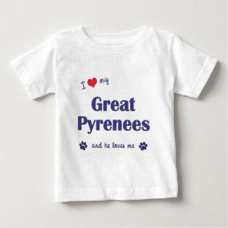 Amo los mis grandes Pirineos (el perro masculino) Playera De Bebé