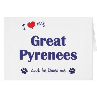 Amo los mis grandes Pirineos (el perro masculino) Tarjeta De Felicitación
