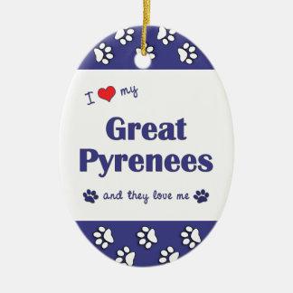 Amo los mis grandes Pirineos los perros múltiples Adorno De Navidad