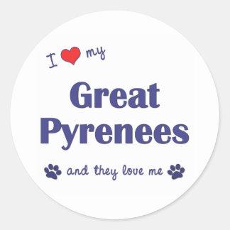 Amo los mis grandes Pirineos (los perros Pegatina Redonda