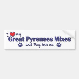 Amo los mis grandes Pirineos me mezclo (los perros Pegatina Para Auto