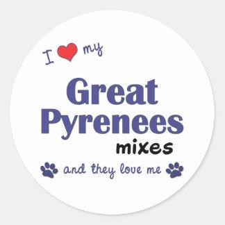 Amo los mis grandes Pirineos me mezclo (los perros Pegatina Redonda