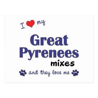 Amo los mis grandes Pirineos me mezclo (los perros Tarjetas Postales