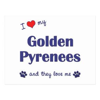 Amo los mis Pirineos de oro (los perros múltiples) Postal