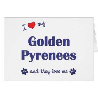 Amo los mis Pirineos de oro (los perros múltiples) Tarjeta De Felicitación