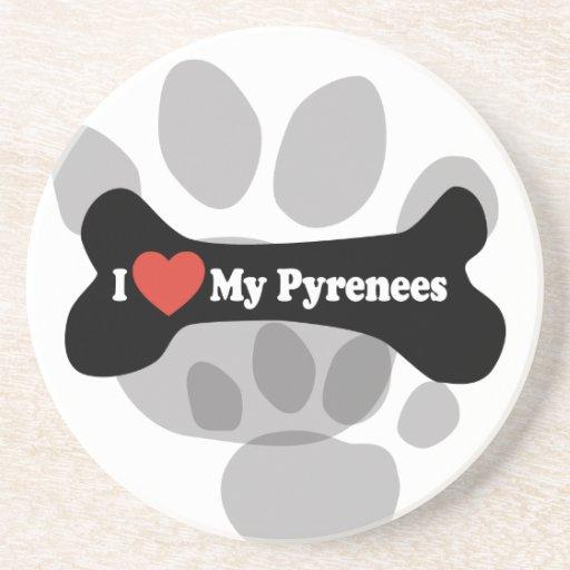 Amo los mis Pirineos - hueso de perro Posavasos Personalizados