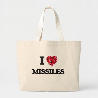 Amo los misiles bolsa tela grande