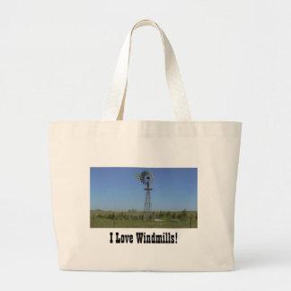 ¡Amo los molinoes de viento! Bolsa De Tela Grande