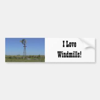 ¡Amo los molinoes de viento Etiqueta De Parachoque