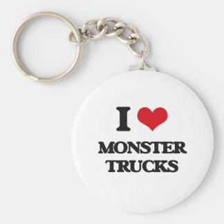 Amo los monsteres truck llavero redondo tipo chapa
