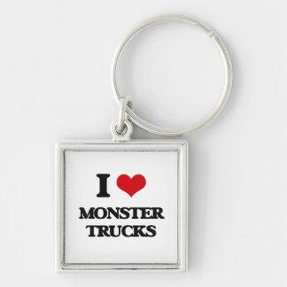 Amo los monsteres truck llavero cuadrado plateado