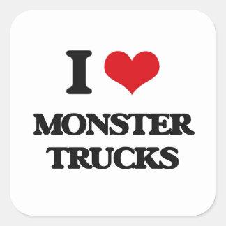 Amo los monsteres truck pegatina cuadrada