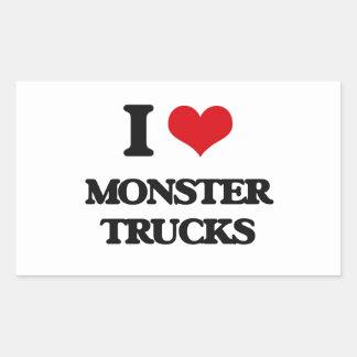 Amo los monsteres truck pegatina rectangular