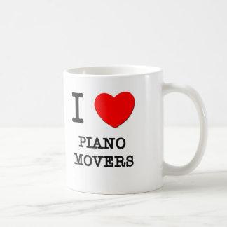 Amo los motores del piano tazas de café