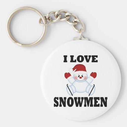 Amo los muñecos de nieve llavero redondo tipo pin