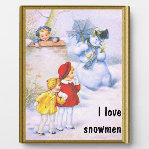 Amo los muñecos de nieve placas de plastico