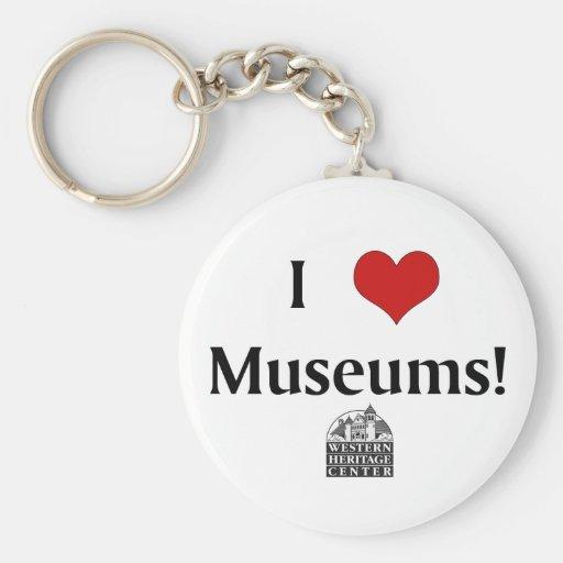 Amo los museos, centro occidental de la herencia llavero personalizado