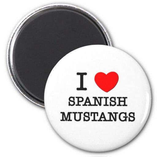 Amo los mustangos españoles (los caballos) iman de nevera