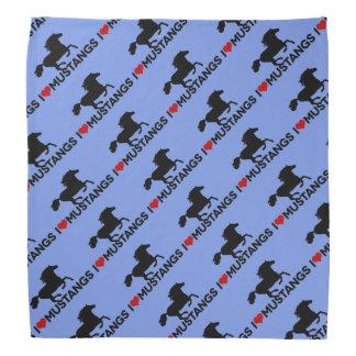 Amo los mustangos - pañuelo - azul bandana