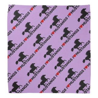 Amo los mustangos - pañuelo - púrpura bandanas