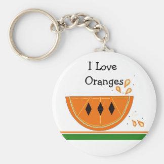 Amo los naranjas llavero redondo tipo pin