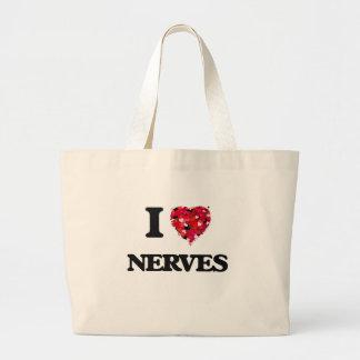 Amo los nervios bolsa tela grande