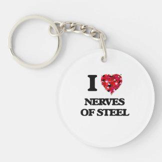 Amo los nervios del acero llavero redondo acrílico a una cara