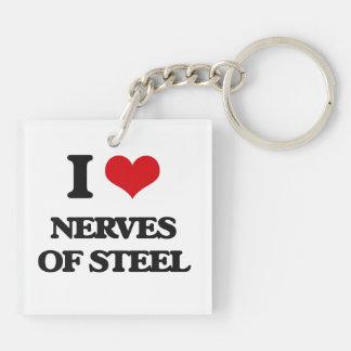 Amo los nervios del acero llavero cuadrado acrílico a doble cara