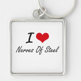 Amo los nervios del acero llavero cuadrado plateado