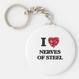 Amo los nervios del acero llavero redondo tipo pin